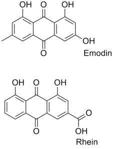 Emodin and rhein belong to a family of molecules known as anthroquinones