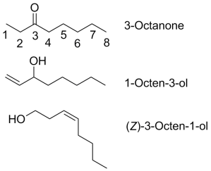 Some of the volatile molecules which give mushrooms their perfume
