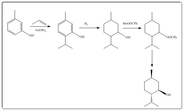 Scheme 1: Synthesis of (-)-menthol.