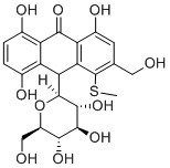 5-hydroxyaloin A; the thiomethyl moiety has proved useful as a handle for synthesis yet an insurmountable challenge to remove.