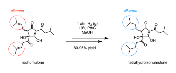 Isohumulone (left) can be reduced to tetrahydroisohumulone (right) by hydrogen gas with a solid palladium-on-carbon catalyst suspended in methanol.