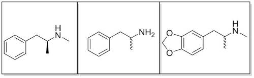 Figure 3. The structures of (from right to left): s-methamphetamine, MDMA, and amphetamine (the wiggly bond means that the structure can be either enantiomer)