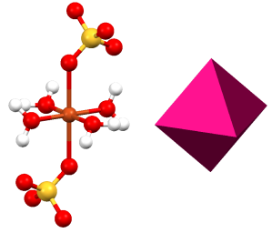The atomic  structure of copper(II) sulfate (left), next to an octahedron (right).