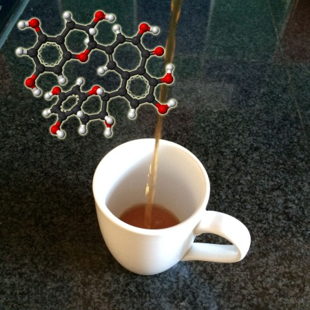 A molecule of theaflavin, the red pigment that gives tea its colour