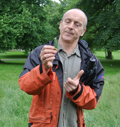 Max Drake, holding a bit of yarrow (Achillea millefolia) to illustrate how this looks like a circulatory system.