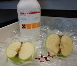 Apple halves and malic acid.