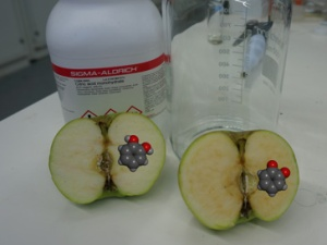 Browning of apple flesh when exposed to air. The left half has been treated with citric acid, which, like lemon juice, prevents browning, while the right half has been allowed to change over time.