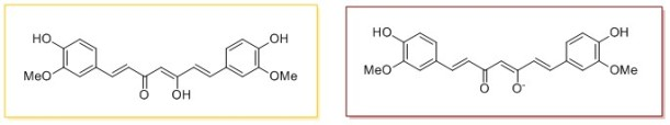 The two forms of cucurmin. Yellow (left) below pH 7.5, red (right) above.