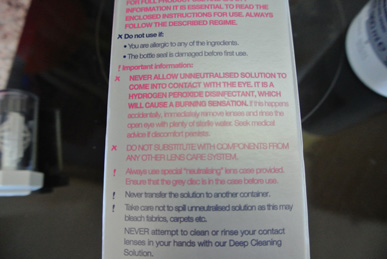 Safety information on lens cleaner kit.