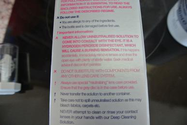 Safety information on lens cleaner kit.