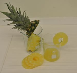 Pineapple fruit and juice.