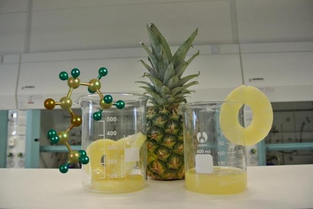 Pineapple rings and pineapple juice in beakers alongside a fresh pineapple and a molecule of ethyl butanoate.